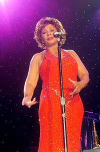 """Shirely Bassey sings """"Goldfinger"""" at tonight's Oscar ceremony."""