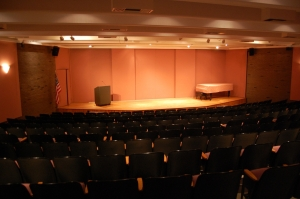 Cole Auditorium, empty now, but tomorrow night, Gid takes the stage!