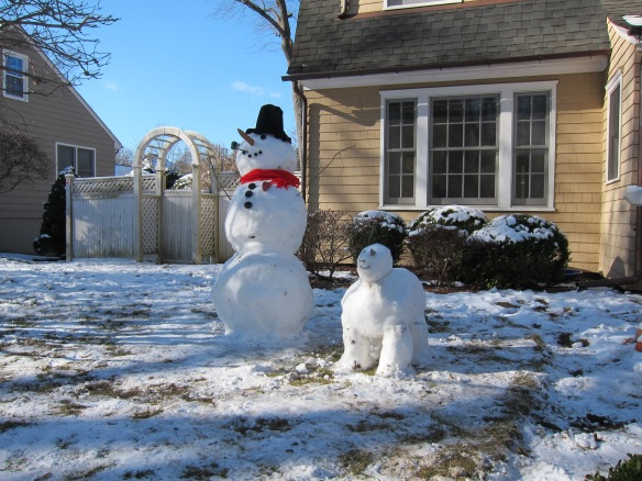 """Like me, you're fed up to here with """"snow people"""". Finally, a proud Perryridge Road resident has put the snow dog in his proper place (and no, he did not take a leak on his master)."""