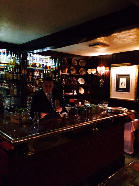 The bar at Bedford's La Cremaillere Restaurant (just over the Greenwich line), the perfect place to observe Gideon's birthday...